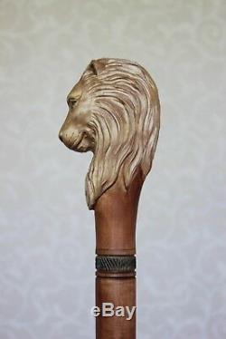 Canne Canne Lion Poignée Sculptée Bâton En Bois Randonnée Sur Mesure