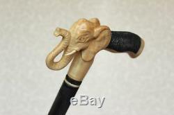Canne D'éléphant Bâton En Bois De Style Manche Sculpté À La Main Et Bâton Simple