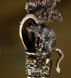 Canne De Bronze En Laiton Canne Poignée Supérieure En Métal Manche En Bois Pirate & Monkey 36