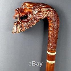 Canne De Dragon Japonaise Bâtons De Bois À La Main À La Main Sculpture Exclusive