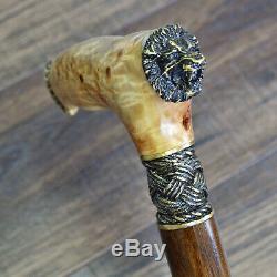 Canne De Marche Bâton En Bois En Bois Burl Lion Bronze Main