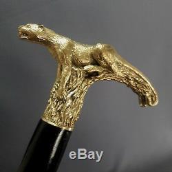 Canne De Marche Bâton En Bois Fait À La Main, Bronze, Moulage De Bijoux @ Panther @