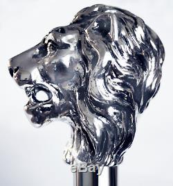 Canne De Marche Bâton En Bois Lion En Argent Fait Main