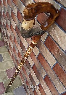 Canne De Marche Bâtons De Marche En Bois À La Main Woodcarving Vente Nouvel Ensemble De 5