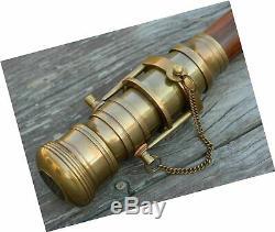 Canne De Marche, Cadeau Nautique En Bois De Télescope Se Pliant De Bâton Antique En Laiton