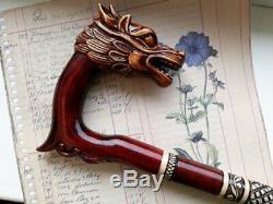 Canne De Marche Canne En Bois Dragon Pour Homme, Sculptée À La Main Bâtons De Marche Balade En Bois
