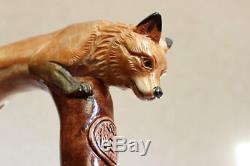 Canne De Marche En Fox Poignée Et Bâton Sculptés À La Main Bâton De Randonnée Femme En Bois Nw61