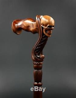 Canne De Marche Pour Tête De Crâne En Bois Originalgc-artis Pour Homme Manche Ergonomique