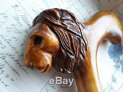 Canne De Marche Sculptée Lion Bâton De Marche Sculpté À La Main Bâtons De Marche En Bois Nw41