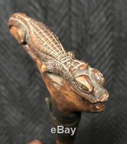 Canne En Bâton De Marche En Bois De Crocodile D'alligator En Bois Sculpté À La Main