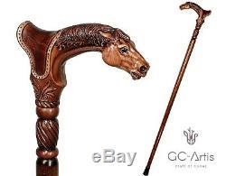 Canne En Bois Art Designer Bâton Cheval Avec Selle En Bois Animal Sculpté