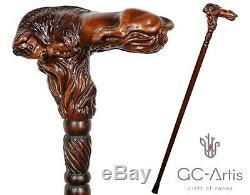 Canne En Bois Bison Bull Sculpté À La Main Poignée Ergonomique Fabriqué En Bois R