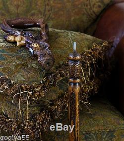 Canne En Bois Canne Fantaisie Sculpté Main Syren Oiseau Aile Femme Navire Maide