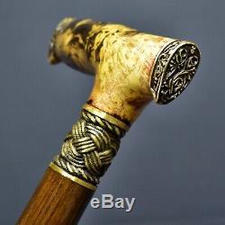 Canne En Bois Faite À La Main Avec Une Poignée En Loupe Stabilisée, Bronze, Exclusiv