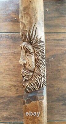 Canne En Bois Sculptée À La Main Par M. Denaro, Bâton De Marche Fantaisie Assistant Indien En Bois