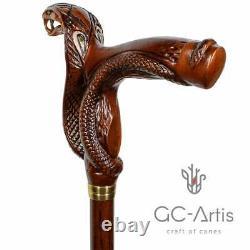 Canne En Bois Walking Stick Cobra Snake Wood Carved Walking Cane
