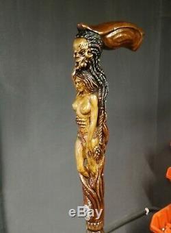 Canne Monster Canne Main En Bois Sculpté Fille Du Personnel De La Randonnée Nue Pour Les Hommes