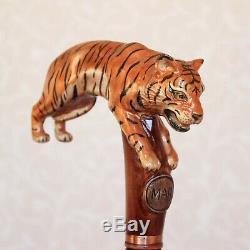 Canne Personnalisée Avec Tiger Main Poignée En Bois Sculpté Bâton De Tigre Canne Randonnée