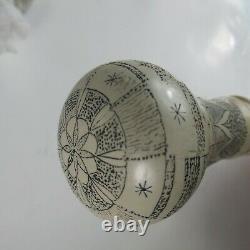 Canne Unique Surmontée De Scrimshaw, 36 Bâtons Décoratifs En Bois