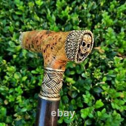 Canne Walking Stick Handmade Wooden Walking Cane Stabilised Burl Handle Y88