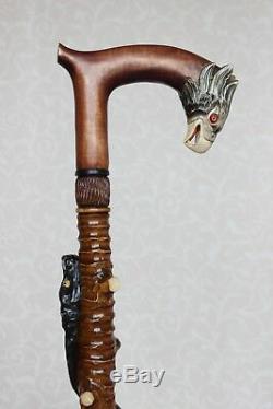 Cannes Bâtons Circaète Poignée En Bois Sculpté Canne Bâton De Sculpture À La Main