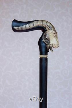 Capricorne Bâton De Marche De La Canne Zodiac Sculpté À La Main En Bois