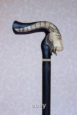 Capricorne Canne De Bâton De Marche Main Sculptée Zodiac En Bois