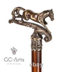 Cheval Bâton De Marche En Laiton Canne Métal Manche En Bronze Arbre En Bois Vintage Style 36