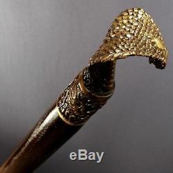 Cobra Bronze Canne Fait Main Bâton Canne En Bois Cadeau Unique Accessoires Hommes