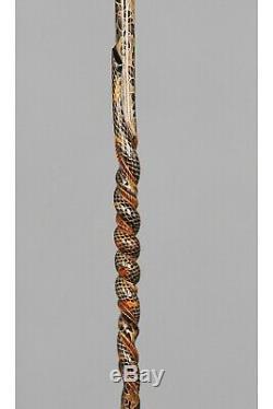 Cobra Marche De Canne Bâton En Bois Poignée En Bois Sculpté À La Main En Spirale Soutien Ozl23