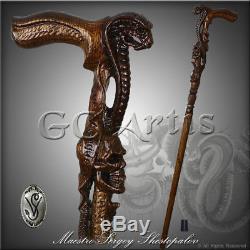 Cobra Serpent Avec Tête De Canne Canne En Bois Sculpté À La Main Fabriqué Mystic Mz05