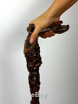 Crafted Dragon Bâton De Canne À La Main En Bois Sculpté Hommes Mystic Fantaisie Femmes