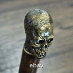 Crâne Canne Walking Cane Walking Stick Wooden Shaft Main Coulée Bronze Handle