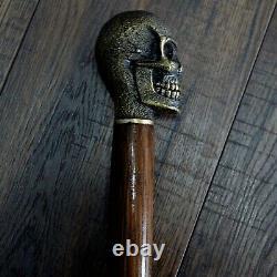 Crâne Lourd Canne À Pied Canne À Pied Bâton En Bois Arbre À Main Casting Bronze