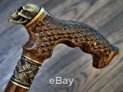 Crâne Marche En Bois Bâton Canne Randonnée Unique Handmade Bronze Chêne Hêtre