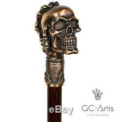 Crâne Tête Canne Laiton Canne Poignée Supérieure Du Bouton Bronze Métal Manche En Bois 36