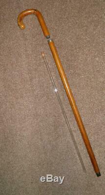 Crook En Bois Vintage Circa 1950 Complété Gadget Tippling Bâton De Marche / Canne 88cm