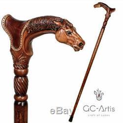 Designer Art Walking Canne En Bois Bâton Cheval Animal Manche En Bois Meilleur Cadeau Xm449