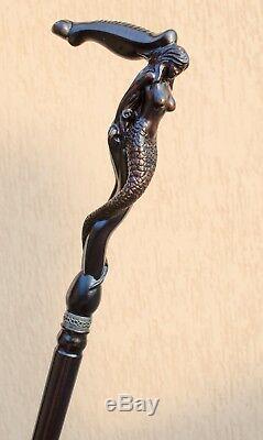 Designer Walking Canes En Bois Hommes Sticks Siren Élégant Sculpté Antique Canne