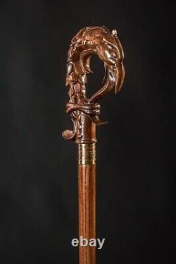 Dragon Bird Élégant Walking Cane Wooden Hand Carved Hiking Stick