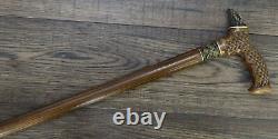 Dragon Wooden Stick Stick Canne Randonnée Bronze Fatine Unique Bronze Chêne Hêtre