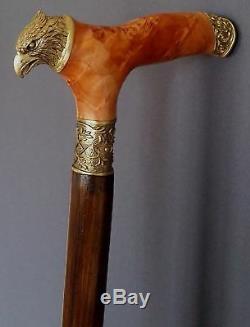 Eagle Canne Fait Main Bâton De Marche Ronde En Bois Unique Accessoires Bronze