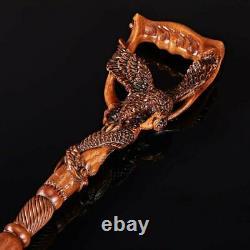 Eagle & Fish Dark Wooden Walking Stick Cane Sculpté Poignée Ergonomique Walking Cane