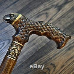 Eagle Marche En Bois Bâton Canne Randonnée Unique Handmade Bronze Chêne Hêtre