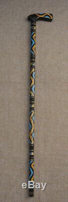 Egypte Handcrafted Ambre & Turquoise Marqueté En Bois D'ébène Walking Canne Bâton # 9