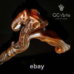 Éléphant Canne Bâton De Marche En Bois Anatomique Palm Poignée Bois Sculpté