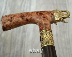 Elephant Stabilized Burl Handle Wooden Handmade Cane Walking Stick # A21