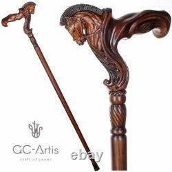 Ergonomique Palm Grip Handle Horse Wooden Cane Walking Stick Wood Carved Walking