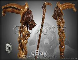 Éveil Ours Grizzly Bâton Canne En Bois Main Manche Sculpté Mz13