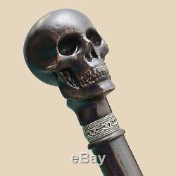 Fantaisie Sculpté Tête De Crâne Marche Canne Bâton Canne Hommes Gothique En Bois Canne Squelette